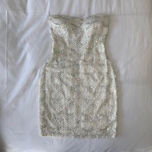 White Sequined bebe Dress
